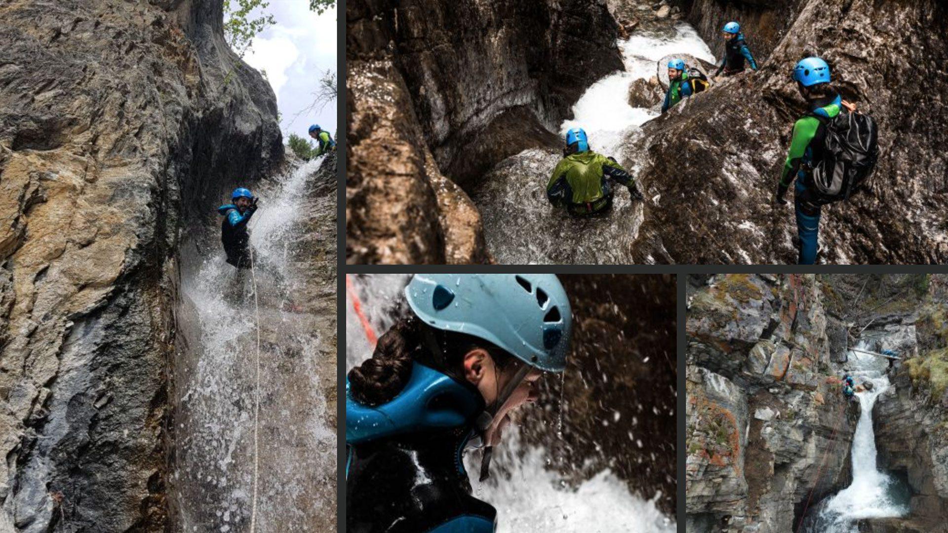 Various photos of canyoners