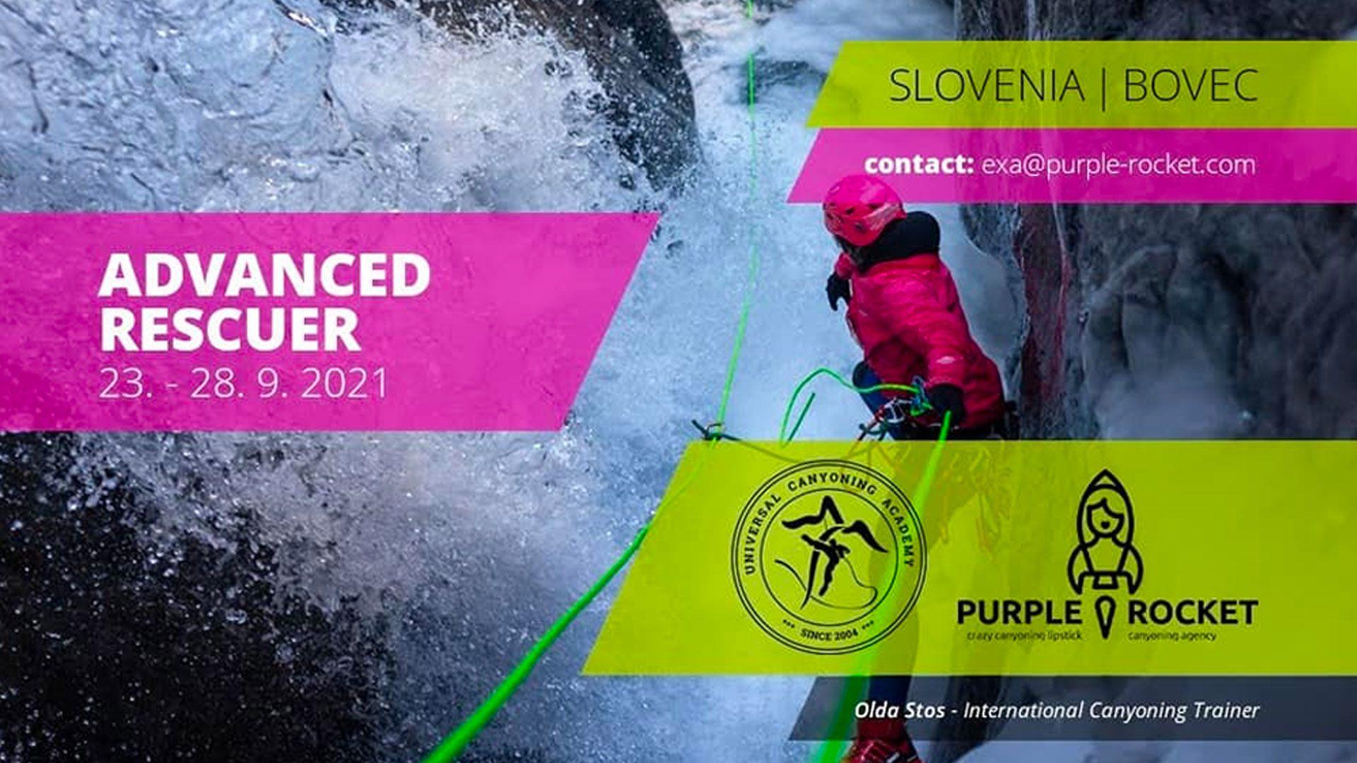 Banner for advanced rescue course Purple Rockete