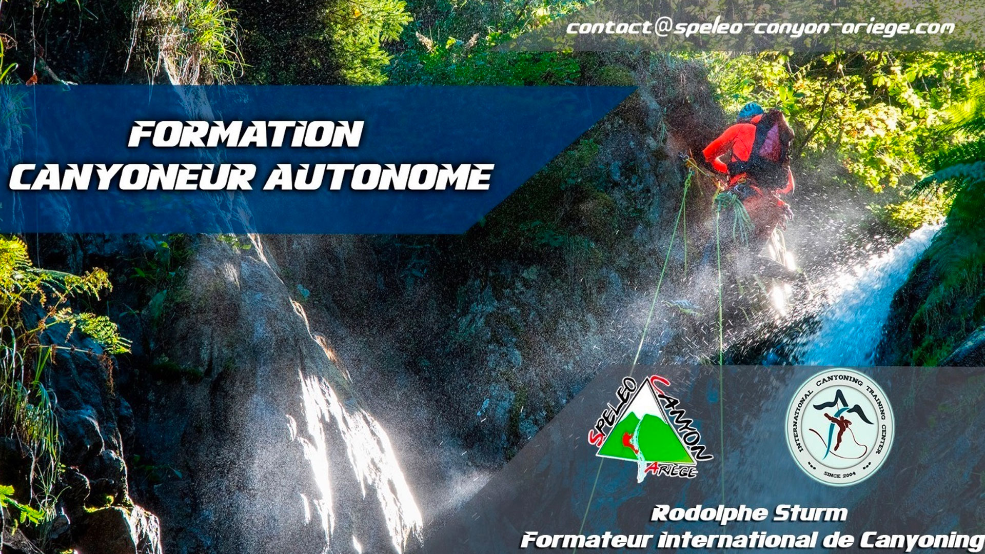 Banner for advertising the canyoning course