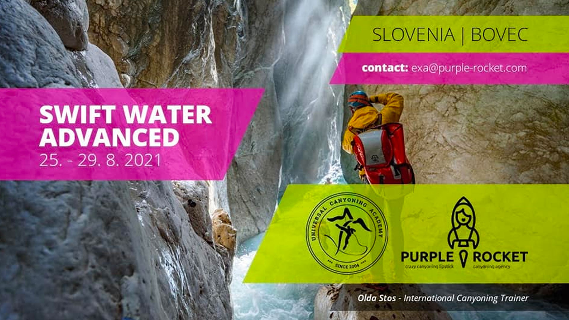 Banner for swift water advanced course Purple Rocket