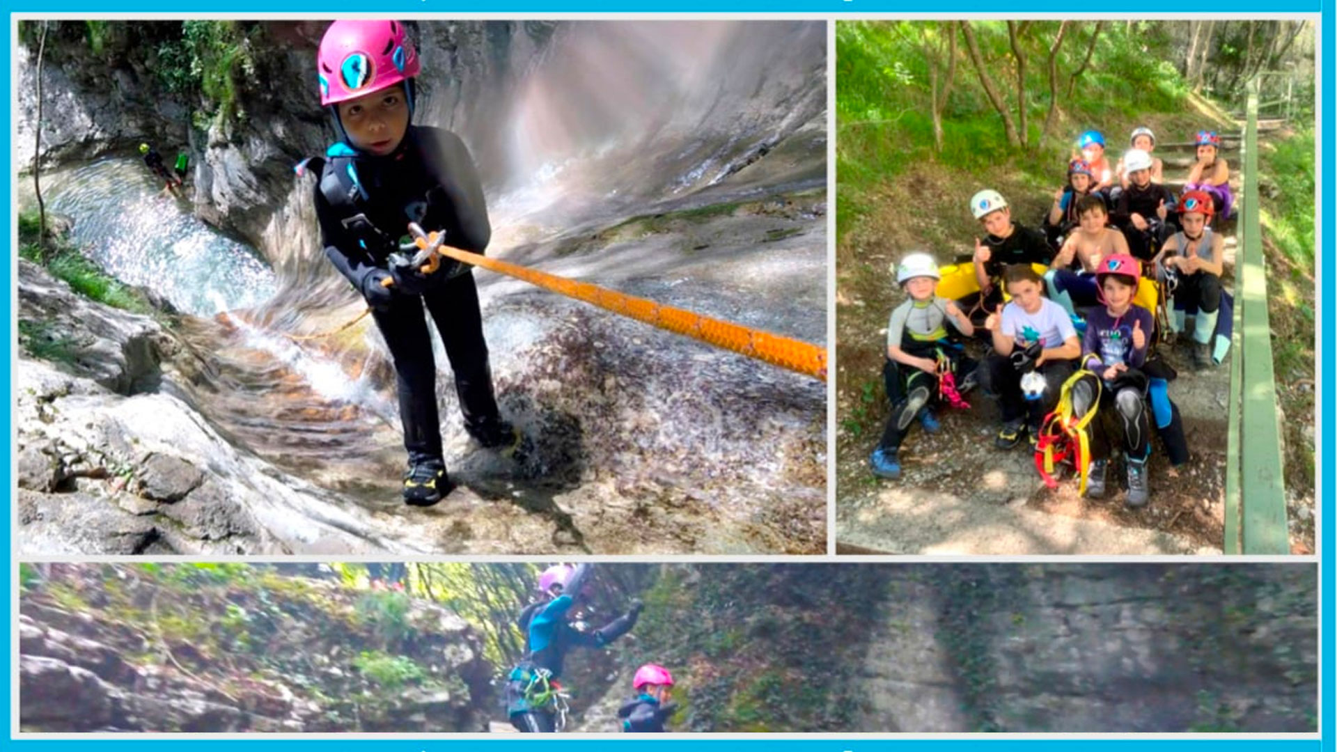 Kids practicing canyoning during camp