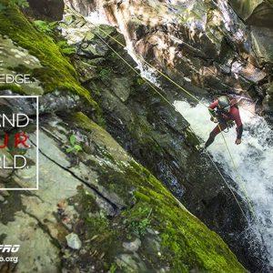 Canyoner descending a cascade