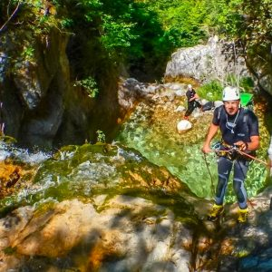 Canyoner abseiling in Orlias Gorge