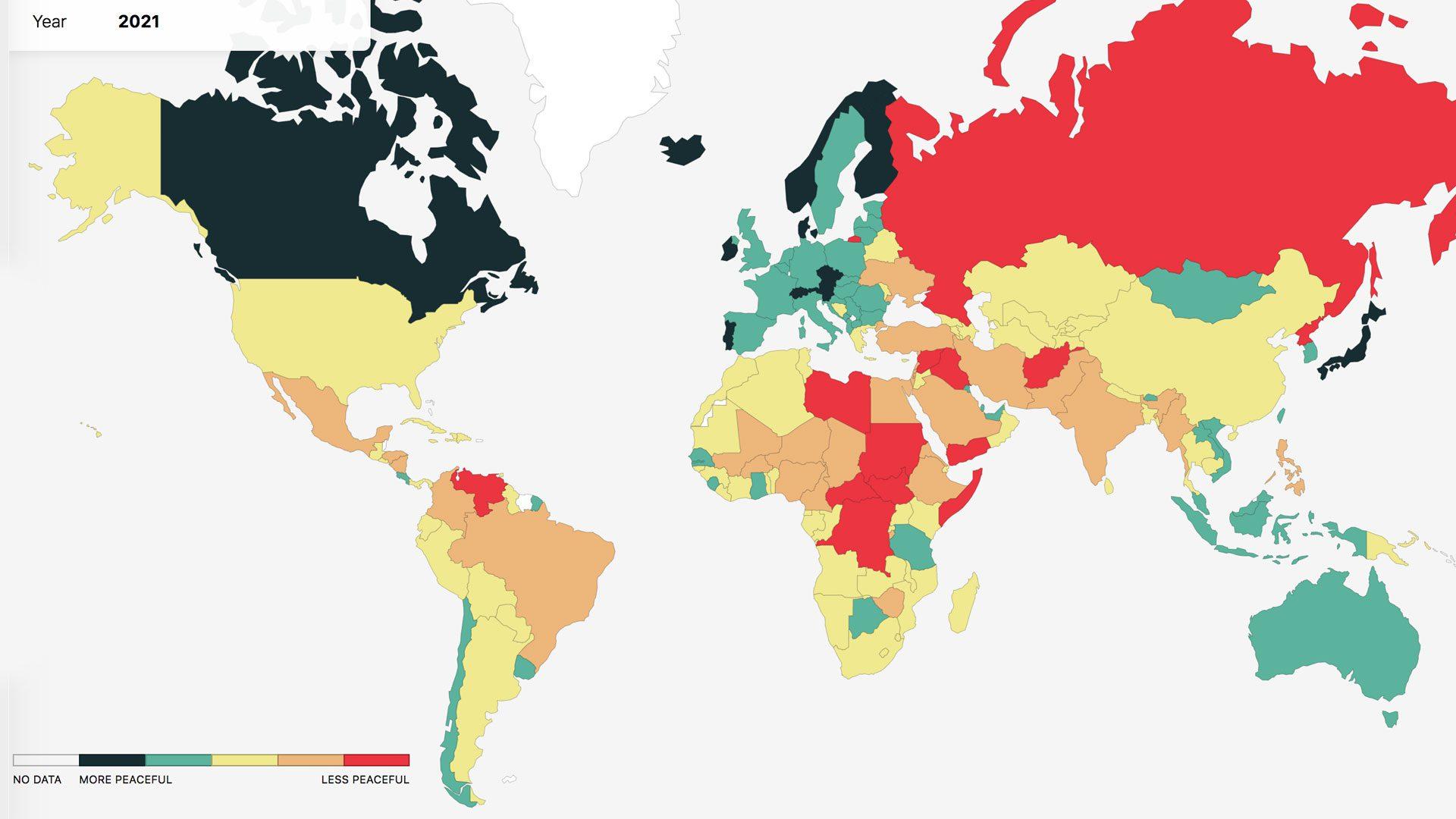 World map ranking peace 2021