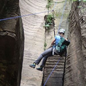 Canyoner practicing and advanced rope technique