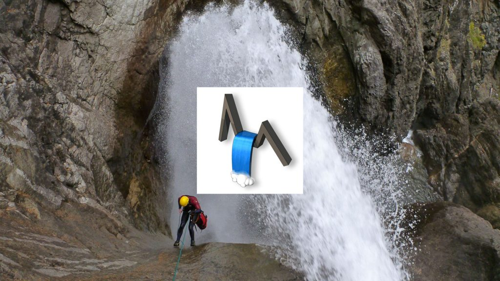 The Dutch Canyoning Bond logo and a canyoner rappelling in an extreme waterfall, full of white water