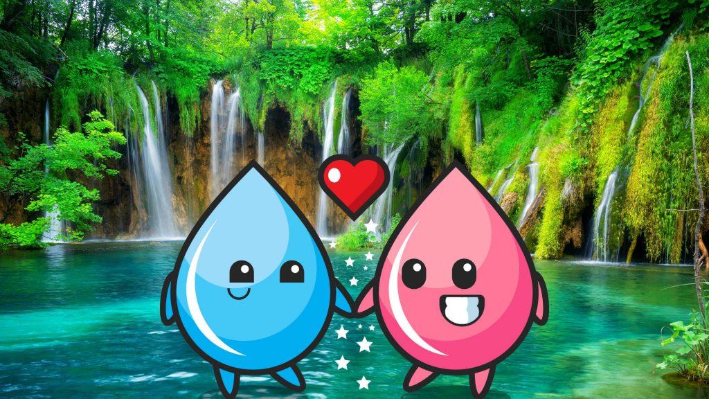Two water drops falling in love