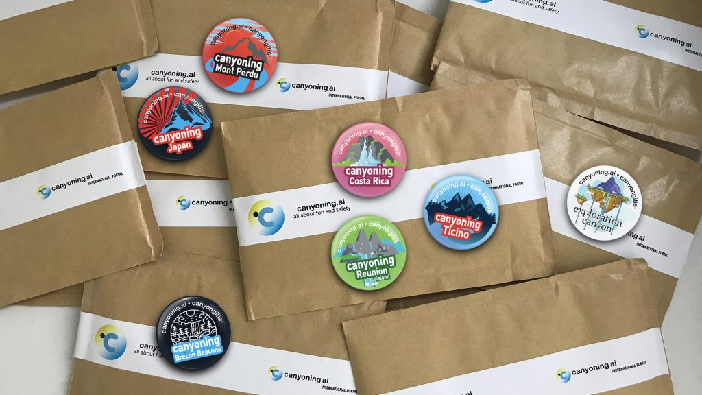 Canyoning.ai badges gifts for RIC2020CRETE meeting