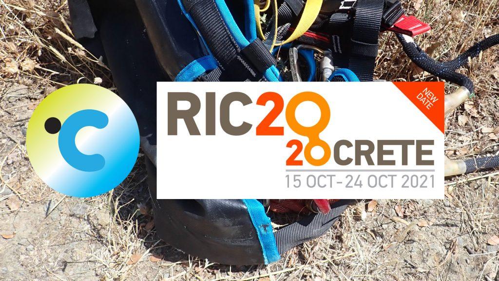 Canyoning.ai logo and RIC2020CRETE logo on a canyoning harness